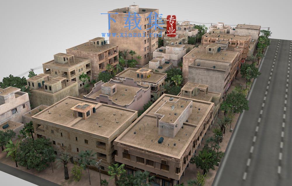 C4D热带气候城市建筑群模型05