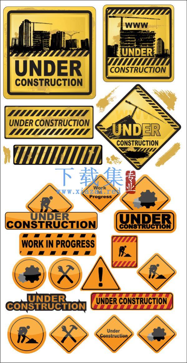 建筑图标,工地施工EPS矢量标志