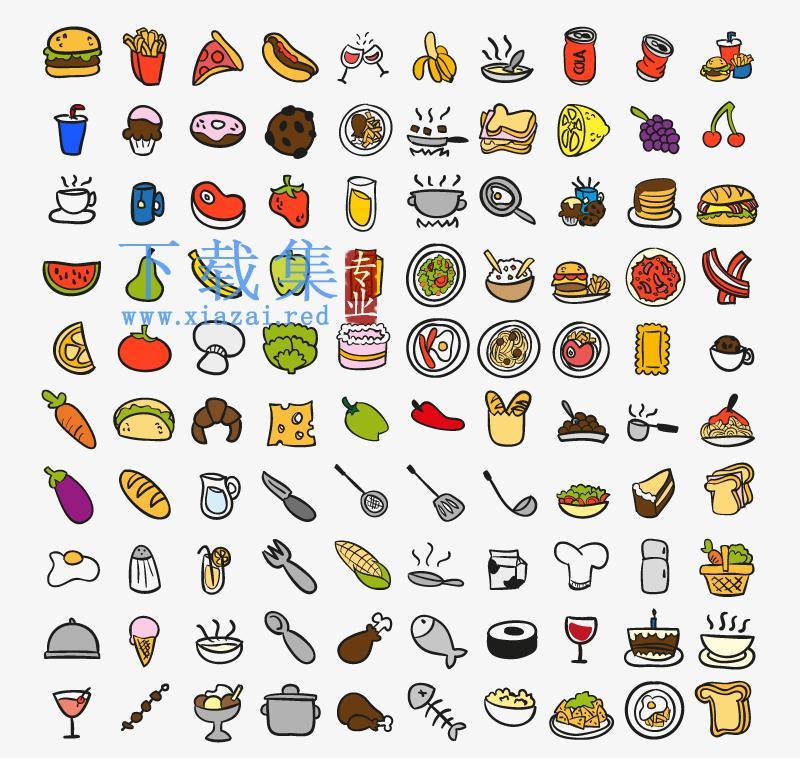 100个食品食物及厨房用品AI矢量图标
