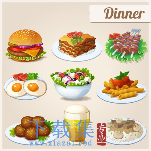 早餐晚餐食物EPS矢量素材  第1张