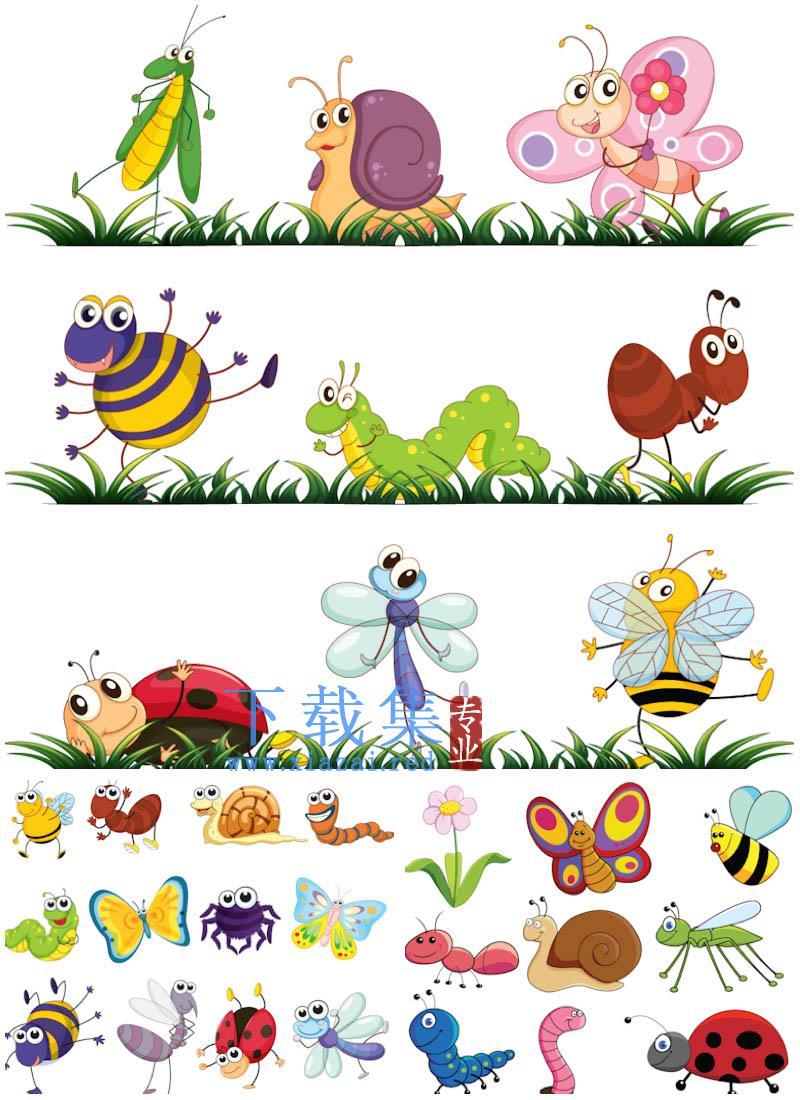 春天卡通小昆虫AI矢量素材  第1张