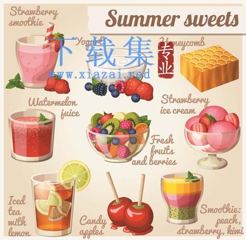 夏日甜品果汁饮料EPS矢量元素  第1张