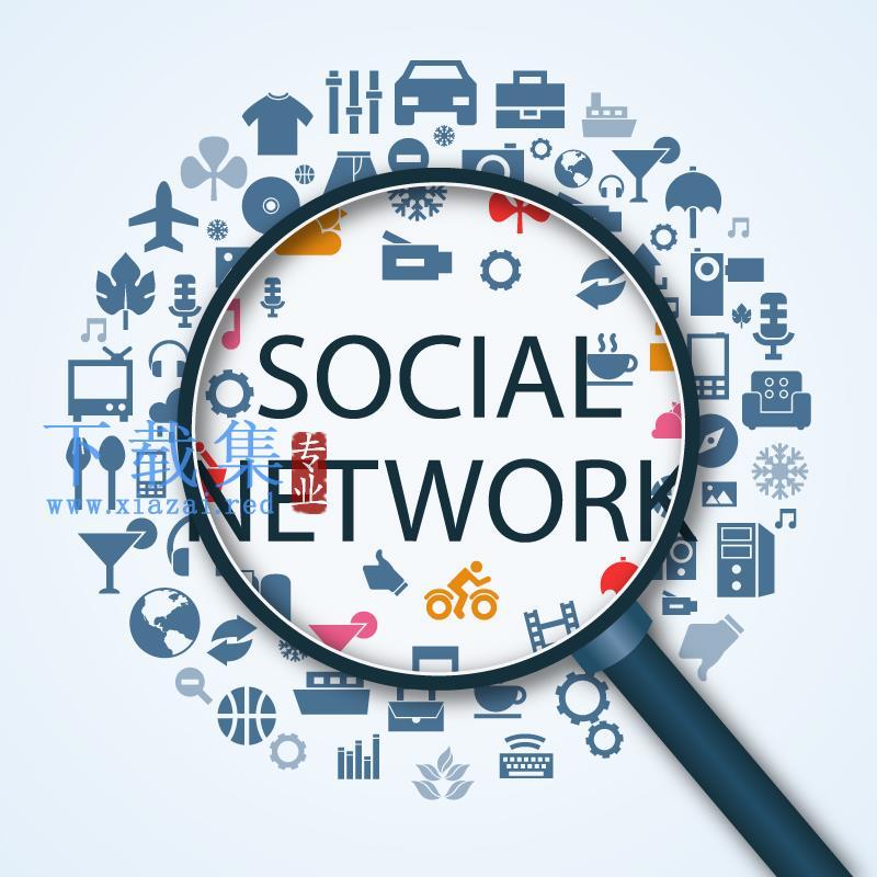 创意社交网络背景AI&EPS矢量图标  第1张