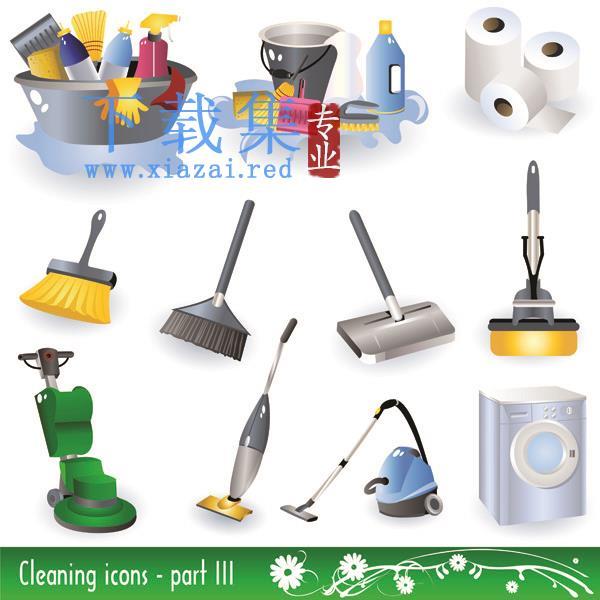 卫生清洁打扫用品EPS矢量素材