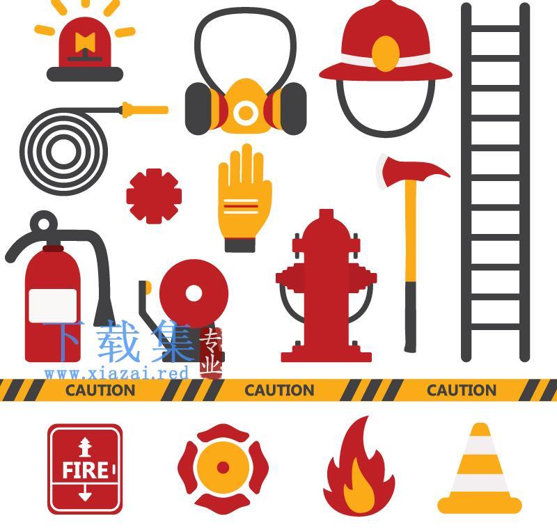 16个消防器材消防元素AI矢量模板  第1张