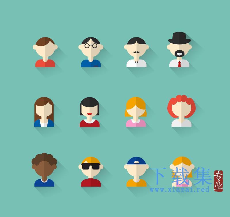 12个人物头像男人女人图标AI矢量素材