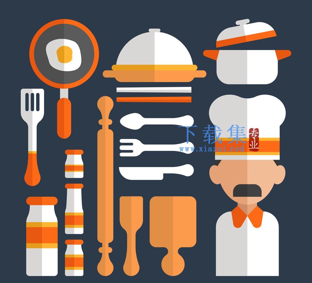 16创意扁平化厨师厨房用品AI素材  第1张