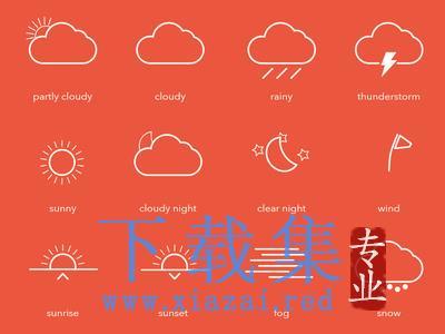 12个天气动态AI矢量元素  第1张