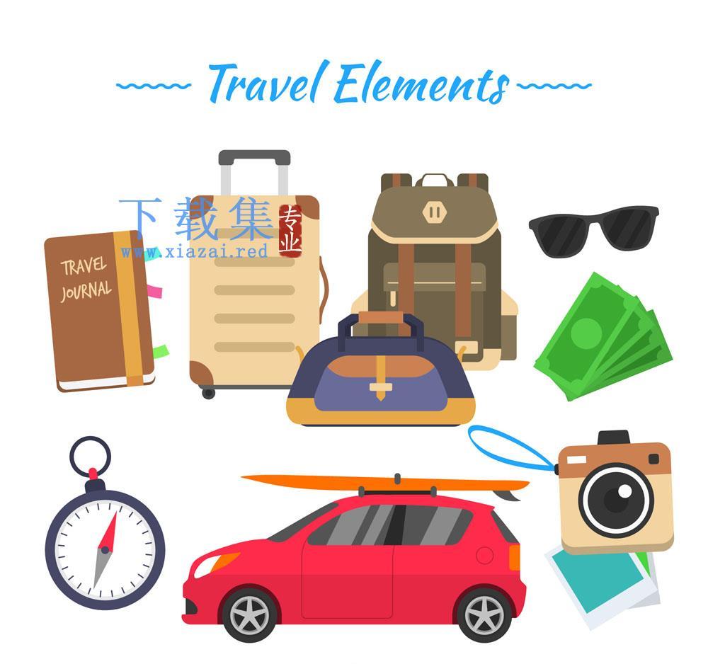 10款创意旅游元素矢量素材