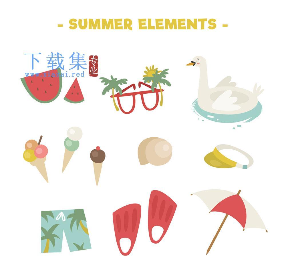 12个创意清凉暑假矢量元素  第1张
