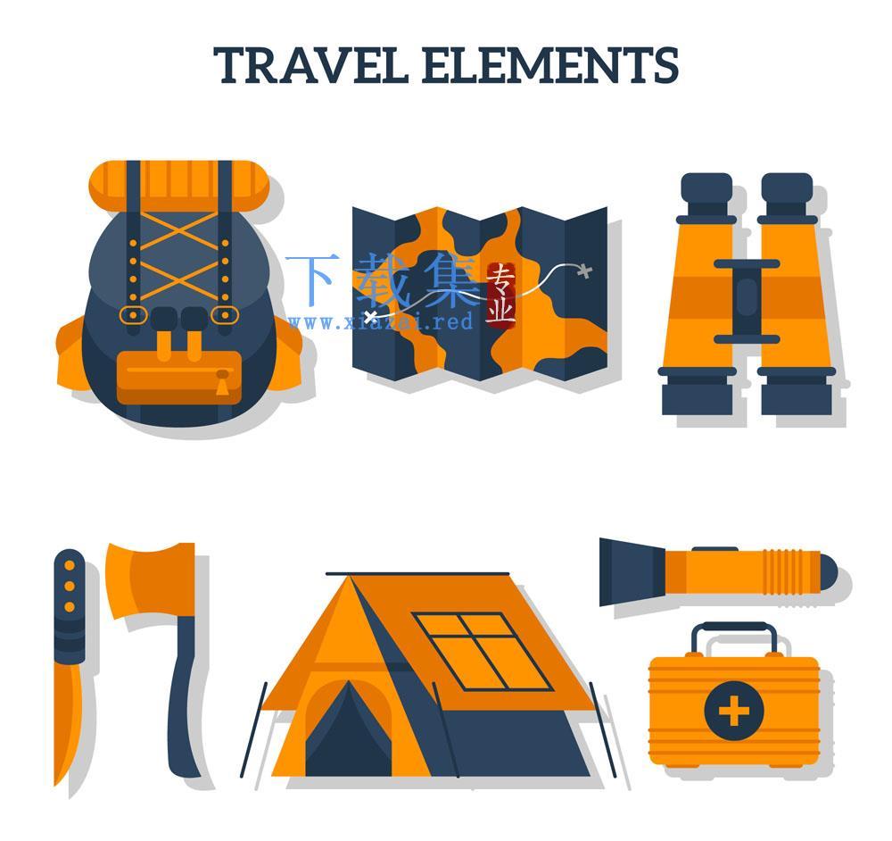 8款橙色露营用品矢量素材