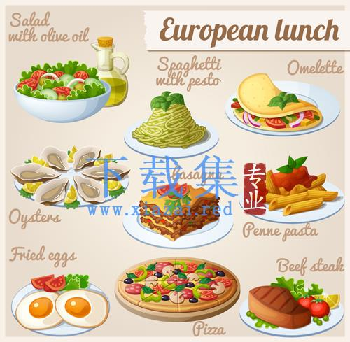 欧洲午餐食物EPS矢量图标  第1张
