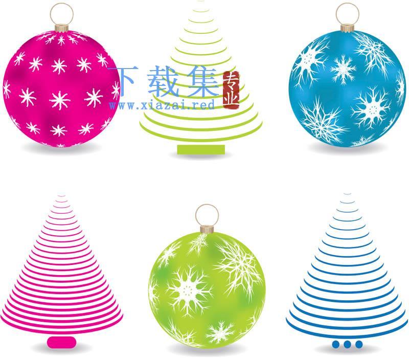 抽象圣诞树球行装饰品矢量素材  第1张