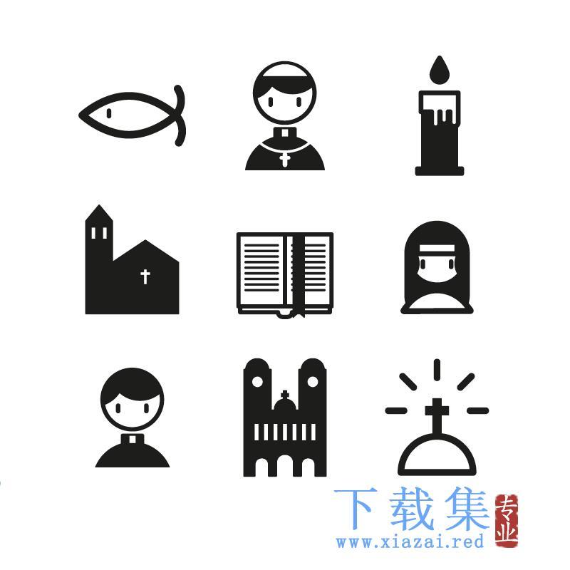 9个基督教图标AI矢量元素