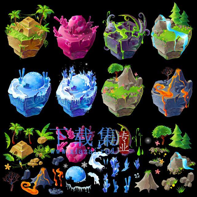 等距3D荒岛,GUI细节,游戏DES素材