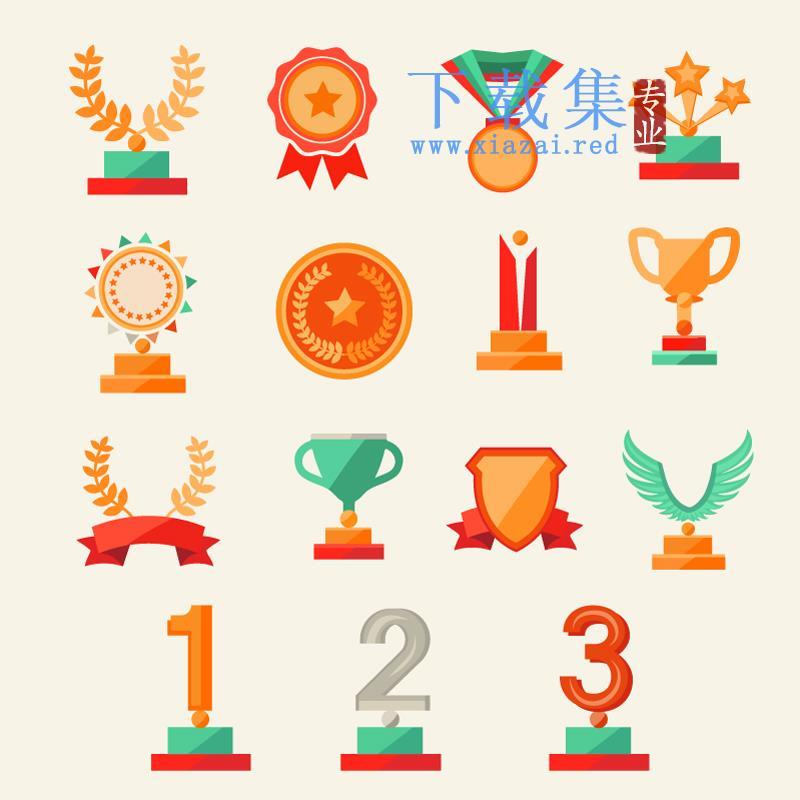 15个奖杯和奖牌EPS矢量图标  第1张