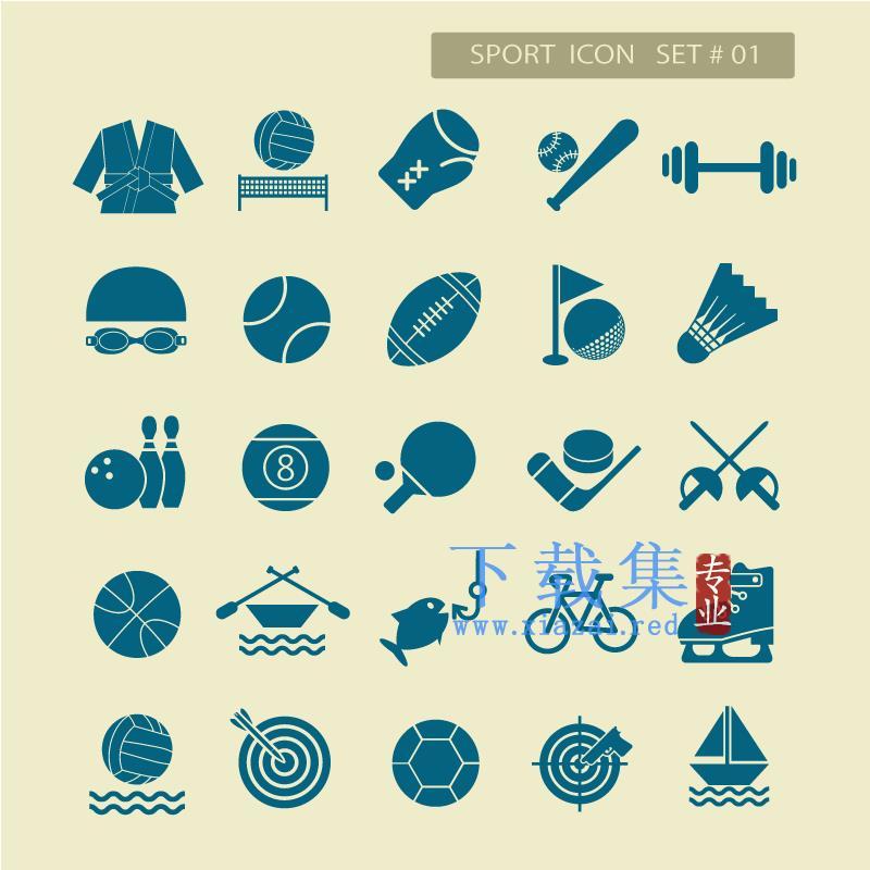 25个体育运动图标EPS矢量素材