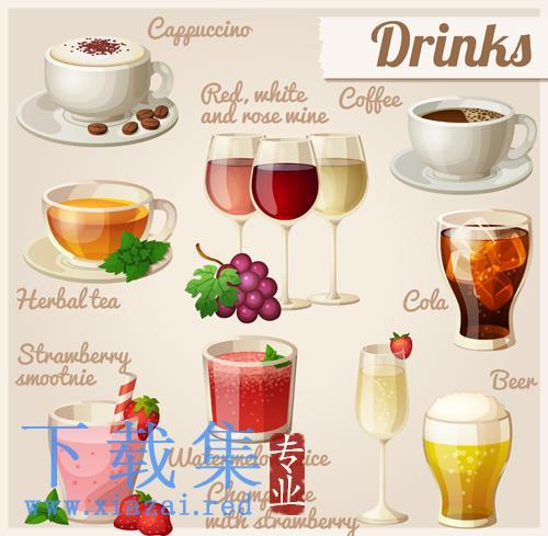 多种饮料果汁EPS矢量图标  第1张