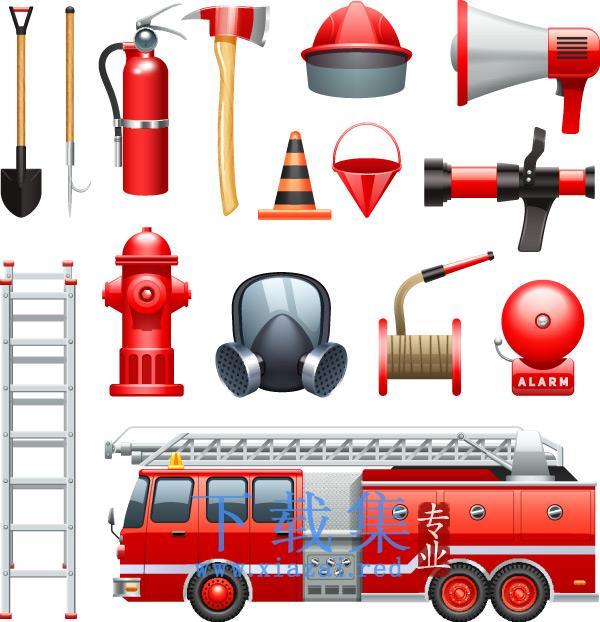消防器材,消防元素EPS矢量素材  第1张