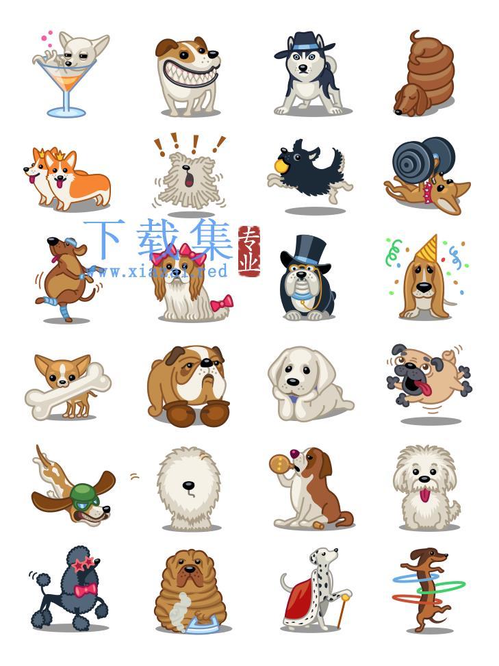 24个不同品种的宠物小狗PNG免抠图