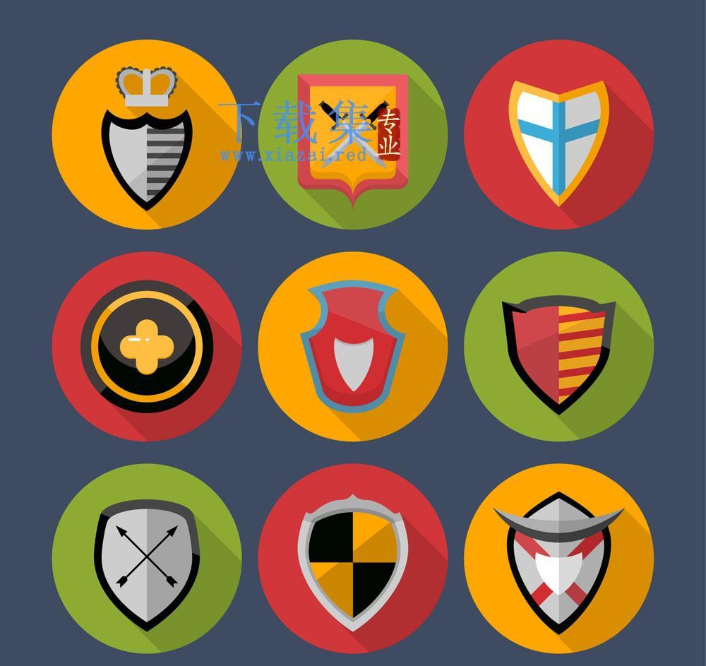 9个圆形安全盾牌图标AI矢量素材  第1张