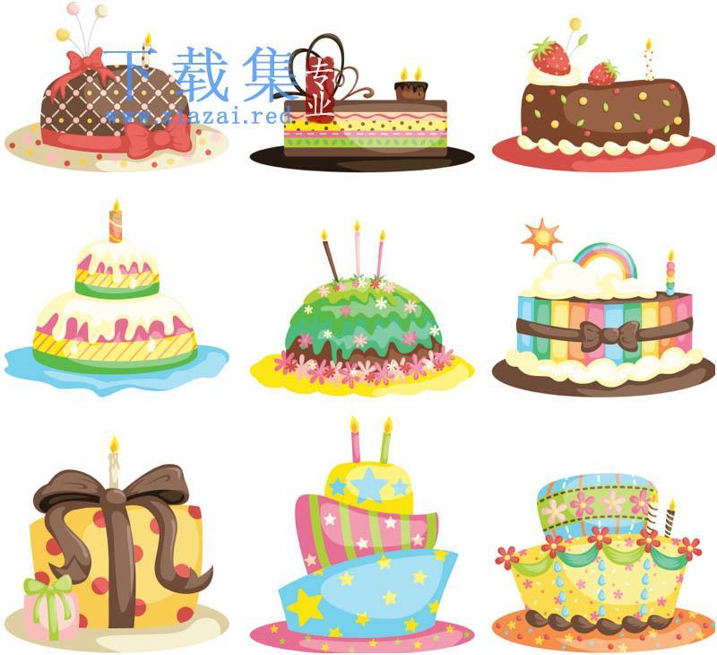 9个漂亮的卡通生日蛋糕AI素材