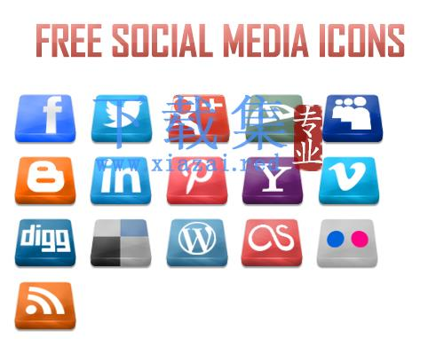 16个免费的3D社交媒体图标PNG免抠图