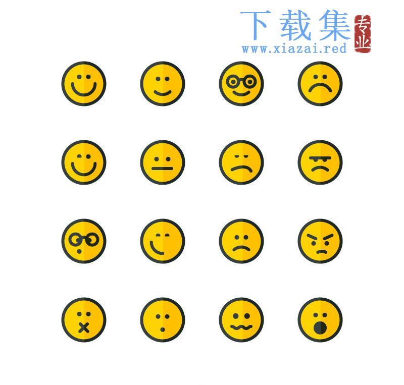 16个循环可爱简单表情AI矢量素材  第1张