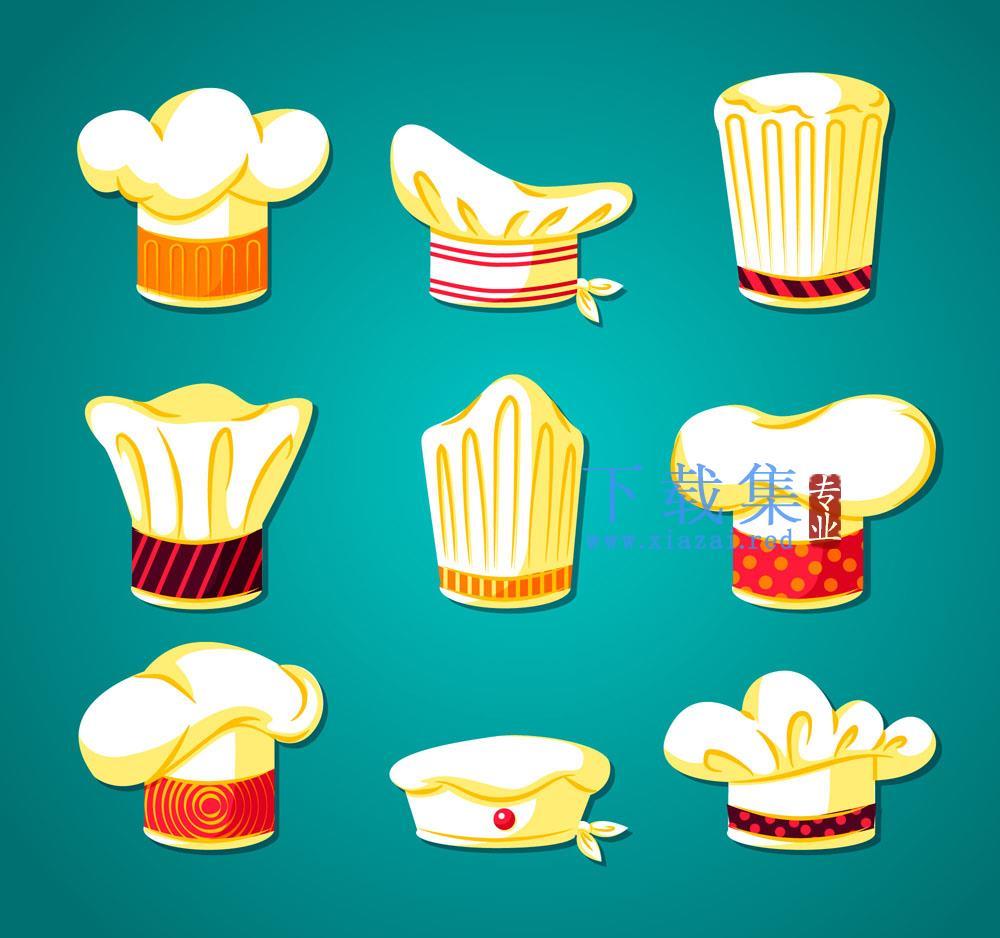 9款白色厨师帽矢量素材