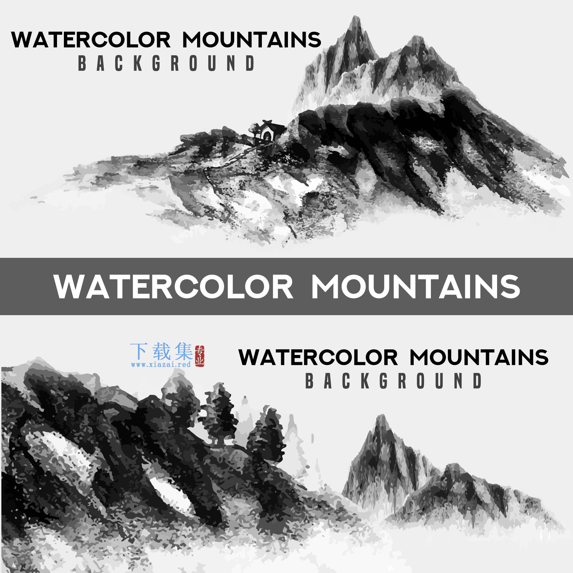 水彩画山水背景AI矢量素材
