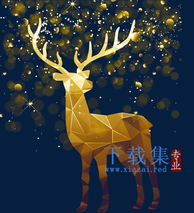 圣诞金色麋鹿矢量装饰模板