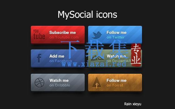 免费漂亮的长方形社交网页按钮PSD图标