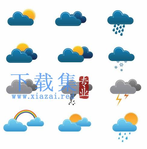 蓝色天气矢量图标  第1张