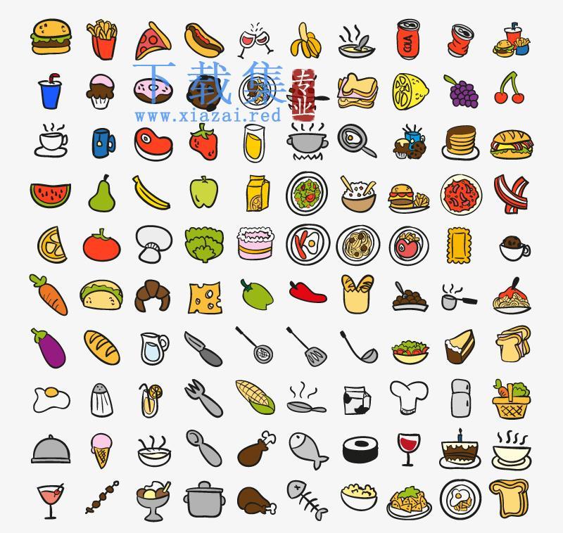 100个食品和厨房用品AI矢量图标  第1张