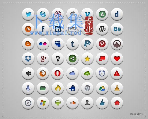 49个网络媒体网络社交网站图标PSD模板