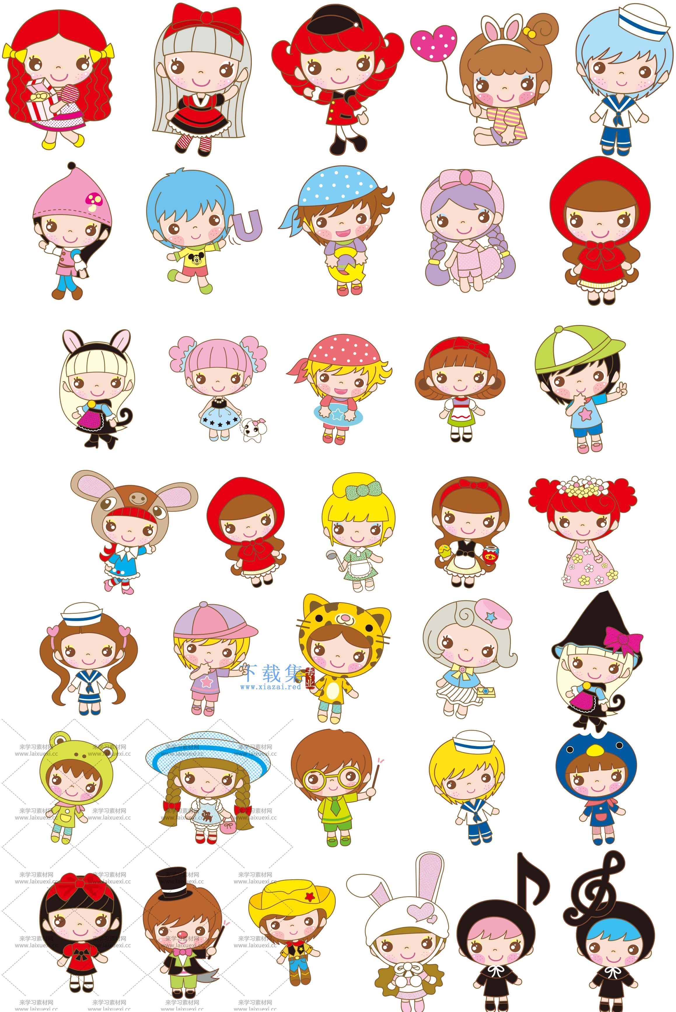 36个可爱卡通女娃娃AI素材