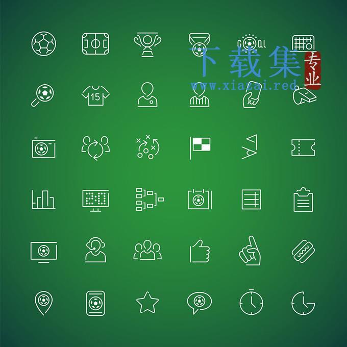 36个足球体育运动线条元素EPS矢量模板  第1张