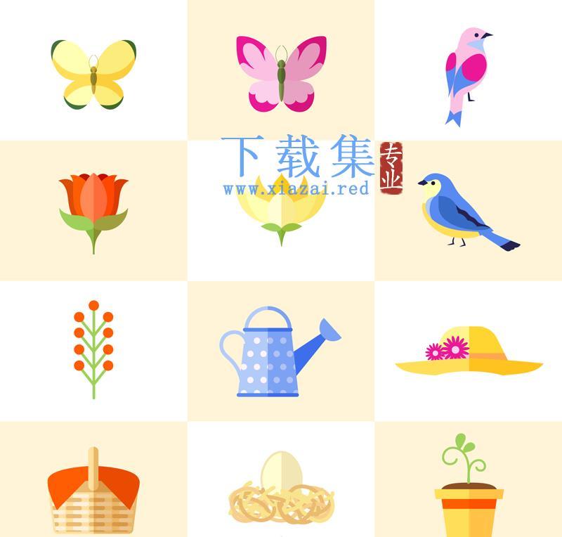 12个花园花卉AI元素图标矢量  第1张