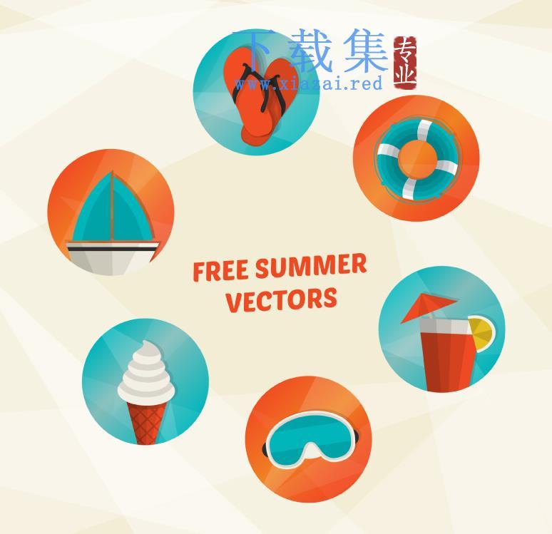 6个夏季暑假假日元素AI矢量图标