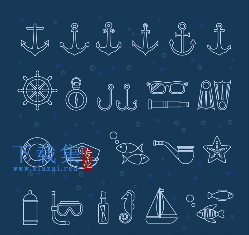 25个创意航海EPS矢量元素图标  第1张