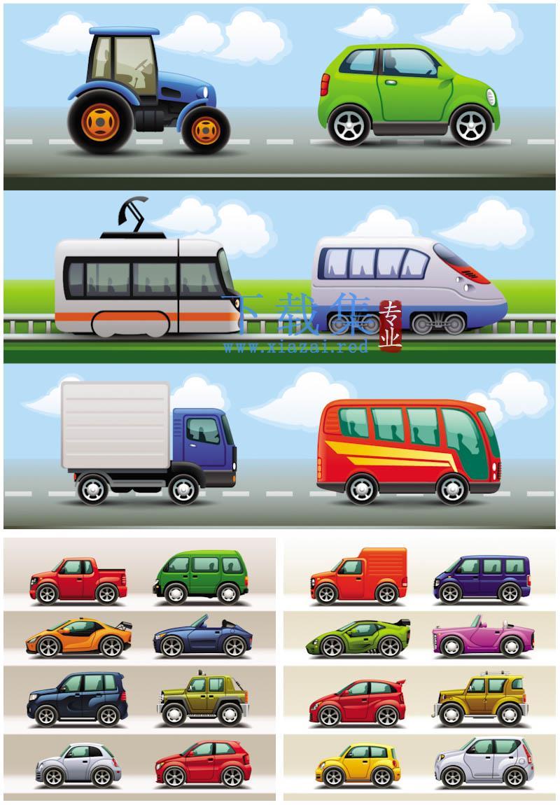 22个卡通汽车矢量图标