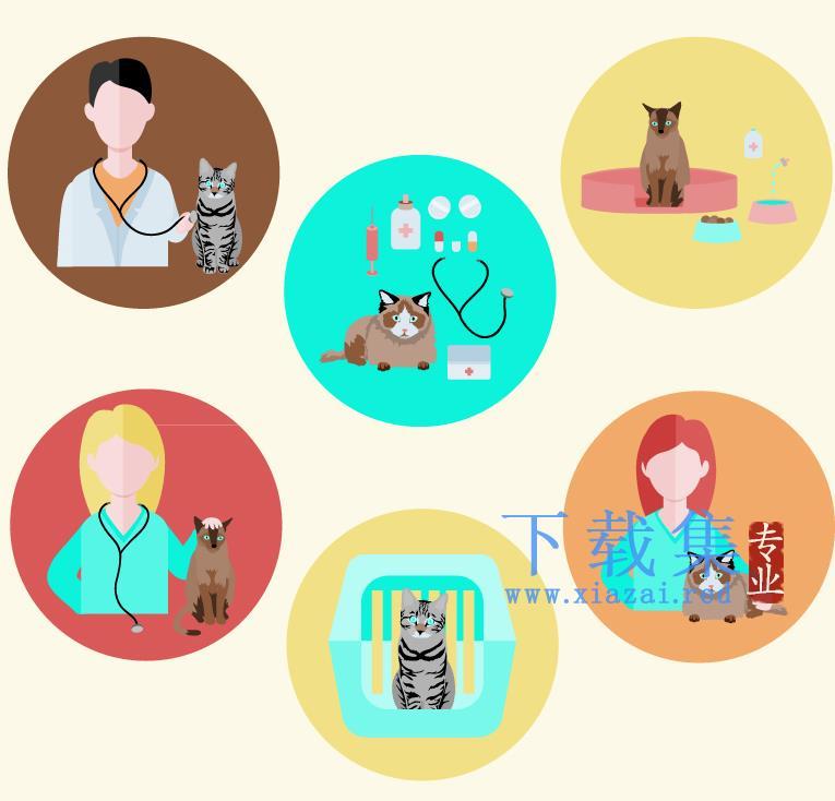 6个宠物猫和兽医AI矢量图标  第1张