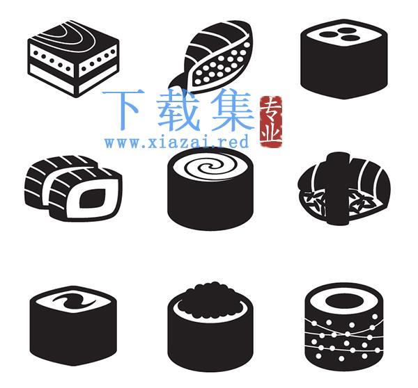 9个黑色日本寿司图标AI矢量素材  第1张