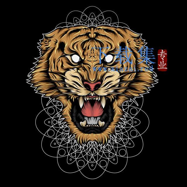 曼陀罗花背景上愤怒的老虎矢量插画