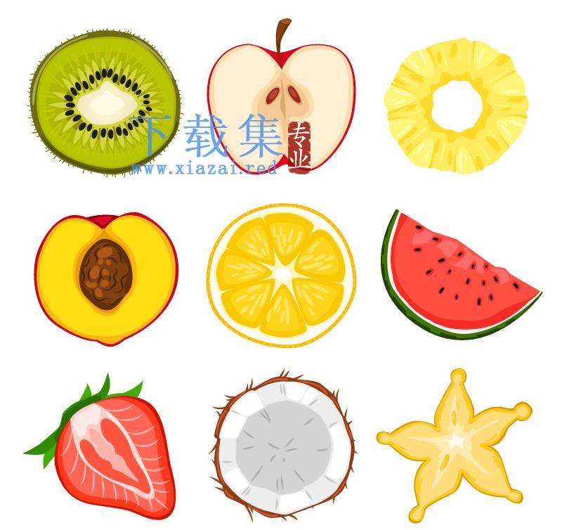 9个被切成片的水果AI矢量素材  第1张