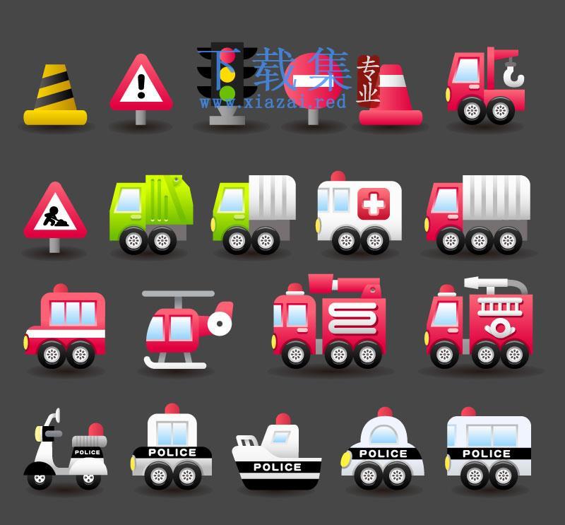特种汽车和交通标志EPS矢量图标  第1张