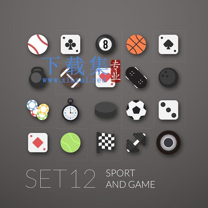 体育运动和棋牌游戏EPS矢量图标集