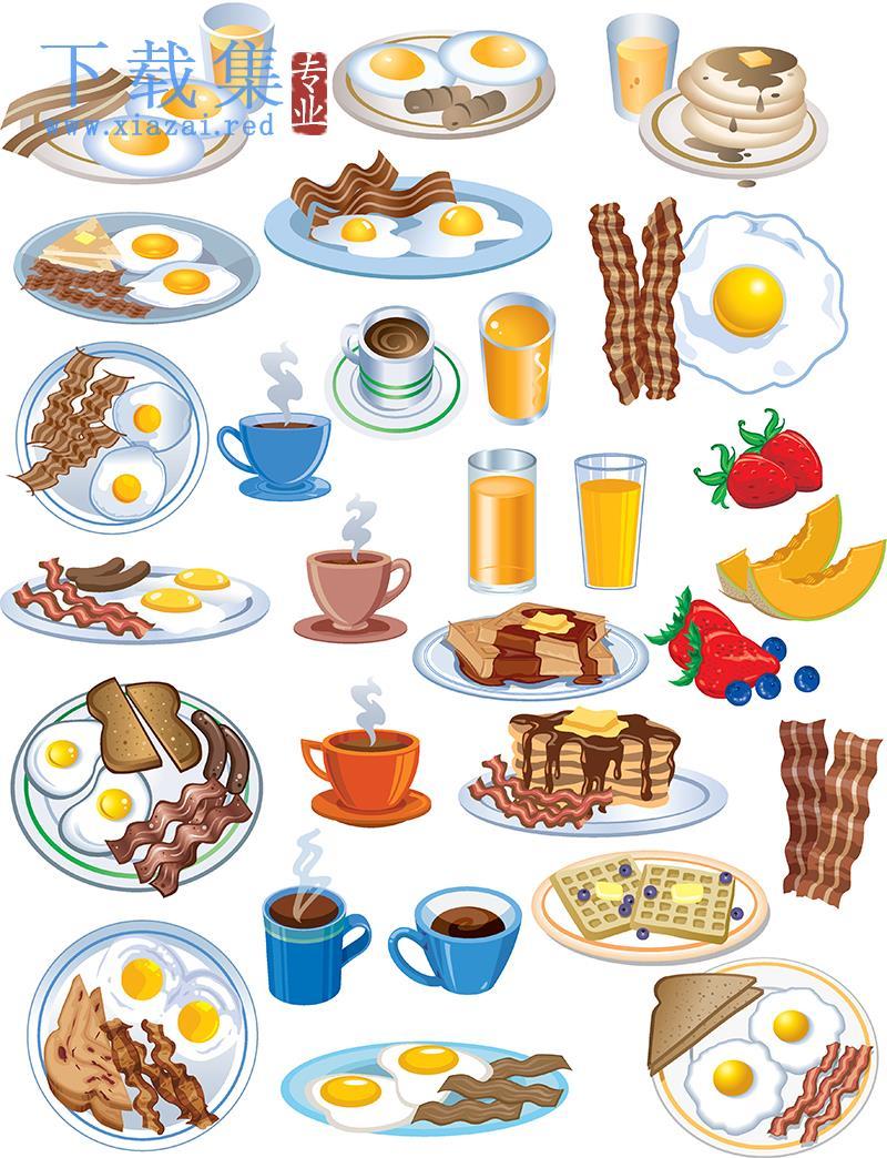 饮料和煎蛋搭配的早餐EPS矢量素材