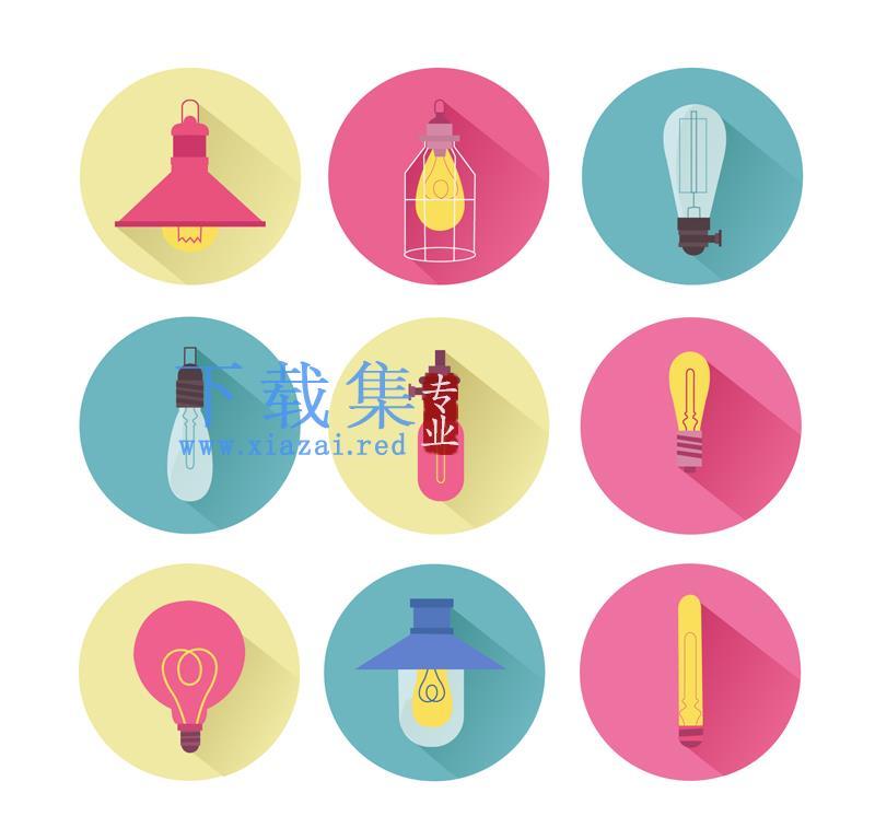 9种颜色圆形背景灯泡AI矢量图标  第1张