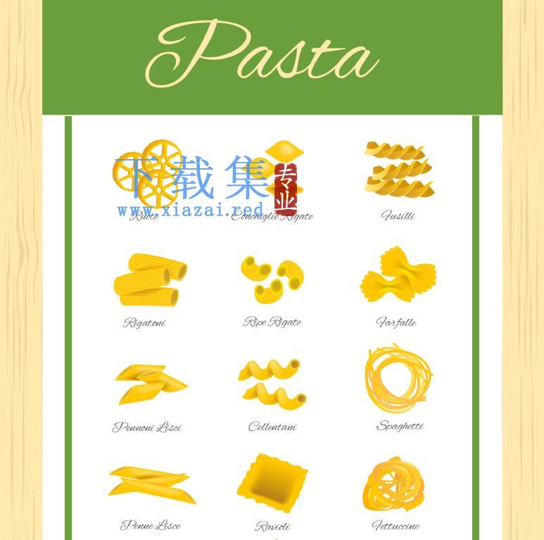 12个美味的意大利面食AI矢量图标  第1张